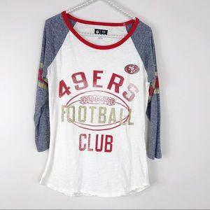 NFL SF 49ers Football club white 3/4 sleeve tee S